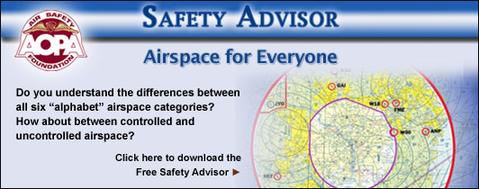 Do you understand the differences between all six �alphabet� airspace categories?  How about between controlled and uncontrolled airspace?  Take a few minutes to refresh your knowledge now.  Click here to download the Air Safety Foundation�s Free Safety Advisor, Airspace for Everyone.