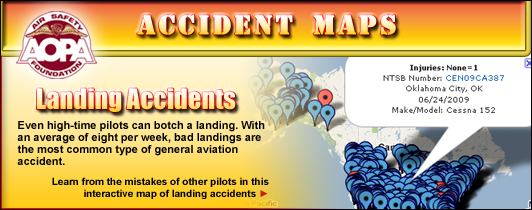 AOPA Air Safety Foundation Accident Maps: Landing Accidents. Even high-time pilots can botch a landing.  With an average of eight per week, bad landings are the most common type of general aviation accident.   Learn from the mistakes of other pilots in this interactive map of landing accidents created by the AOPA Air Safety Foundation.