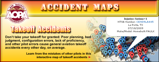 AOPA Air Safety Foundation Accident Maps: Takeoff Accidents. Don�t take your takeoff for granted: Poor planning, bad judgment, configuration errors, lack of proficviency, and other pilot errors cause general aviation takeoff accidents every other day, on average. Learn from the mistakes of other pilots in this interactive map of takeoff accidents created by the AOPA Air Safety Foundation.