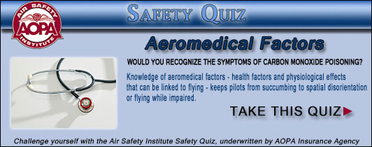 Air Safety Institute Safety Quiz - VFR: Cross-Country Planning