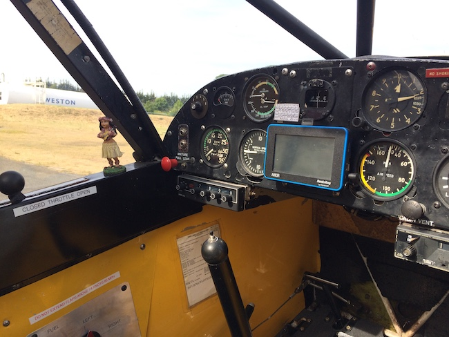 The cockpit and flight controls of an Irish Super Cub.